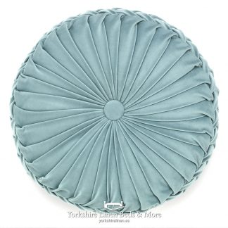 Vintage Pleat Round Cushion Mint Yorkshire Linen Beds & More P02