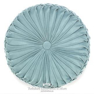 Vintage Pleat Round Cushion Mint Yorkshire Linen Beds & More P02
