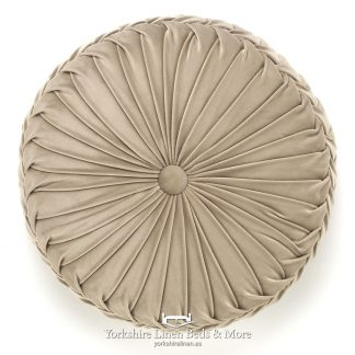 Vintage Pleat Round Cushion Natural Yorkshire Linen Beds & More P01
