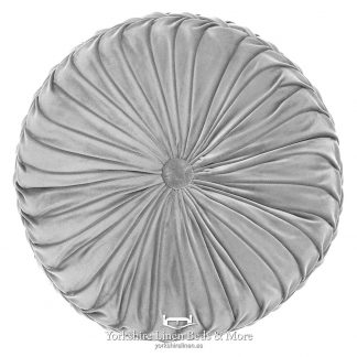 Vintage Pleat Round Cushion Silver Grey Yorkshire Linen Beds & More P01