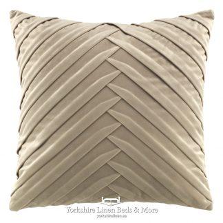 Vintage Pleats Square Cushion Natural Yorkshire Linen Beds & More P01