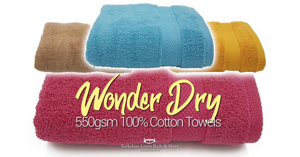 550gsm Wonder Dry 100% Cotton Towels - Yorkshire Linen Beds & More OG01