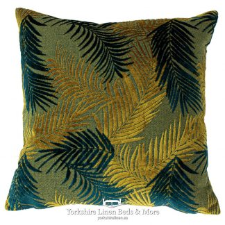Groovy Palm Cushions Gold and Teal - Yorkshire Linen Beds & More P01