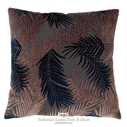 Groovy Palm Cushions Navy and Blush - Yorkshire Linen Beds & More P01