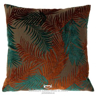 Groovy Palm Cushions Teal and Rust - Yorkshire Linen Beds & More P01