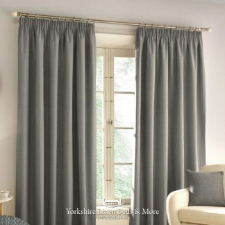 Harlow Pencil Pleat Blackout Curtains Grey - Yorkshire Linen Beds & More P01
