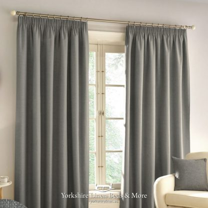 Harlow Pencil Pleat Blackout Curtains Grey - Yorkshire Linen Beds & More P01