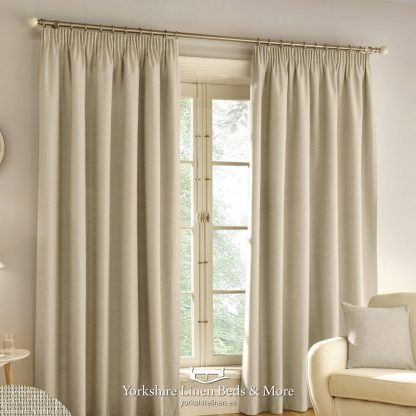 Harlow Pencil Pleat Blackout Curtains Natural - Yorkshire Linen Beds & More P01