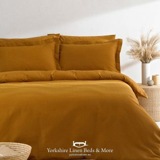 Luxury Waffle Duvet Set 100pc Cotton Ginger - Yorkshire Linen Beds & More P01