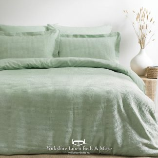 Luxury Waffle Duvet Set 100pc Cotton Sea Foam - Yorkshire Linen Beds & More P01