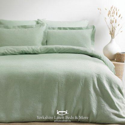 Luxury Waffle Duvet Set 100pc Cotton Sea Foam - Yorkshire Linen Beds & More P01