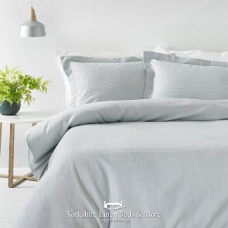 Luxury Waffle Duvet Set 100pc Cotton Silver - Yorkshire Linen Beds & More P01