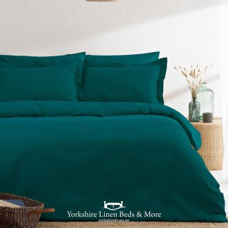 Luxury Waffle Duvet Set 100pc Cotton Teal - Yorkshire Linen Beds & More P01