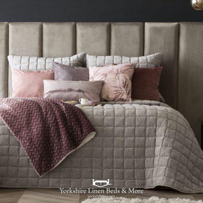 Marnie Luxury Velour Bedspread Beige - Yorkshire Linen Beds & More P01