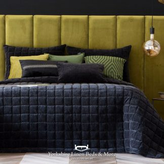 Marnie Luxury Velour Bedspread Black - Yorkshire Linen Beds & More P01