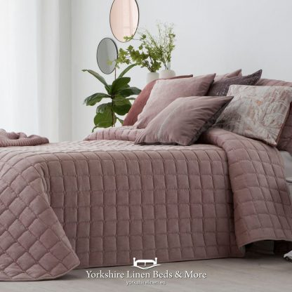 Marnie Luxury Velour Bedspread Blush Pink - Yorkshire Linen Beds & More P01