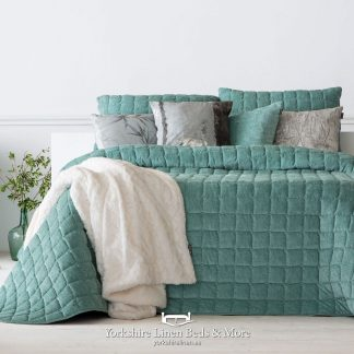 Marnie Luxury Velour Bedspread Mint - Yorkshire Linen Beds & More P01