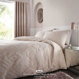 Milo Jacquard Duvet Cover Set Natural Blush - Yorkshire Linen Beds & More P01
