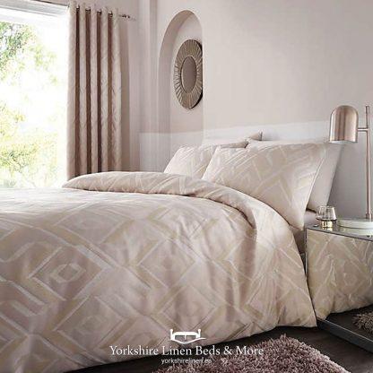 Milo Jacquard Duvet Cover Set Natural Blush - Yorkshire Linen Beds & More P01