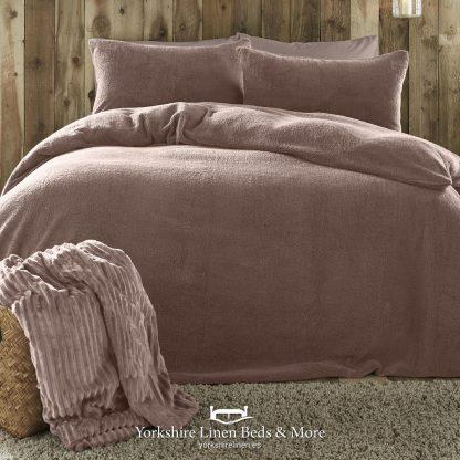 Teddy Bear Fleece Duvet Cover Set Blush Pink - Yorkshire Linen Beds & More P01