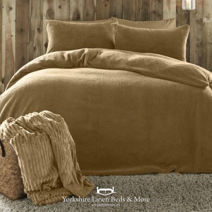 Teddy Bear Fleece Duvet Cover Set Ochre - Yorkshire Linen Beds & More P01