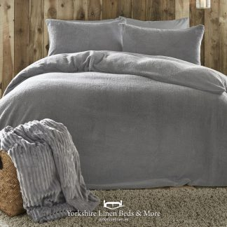 Teddy Bear Fleece Duvet Cover Set Silver - Yorkshire Linen Beds & More P01