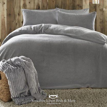Teddy Bear Fleece Duvet Cover Set Silver - Yorkshire Linen Beds & More P01