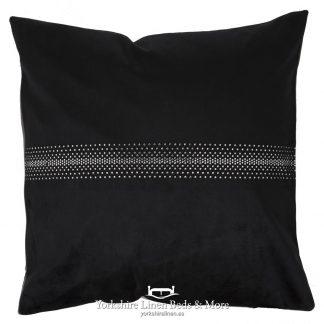 Velvet Diamante Cushion Black - Yorkshire Linen Beds & More P01