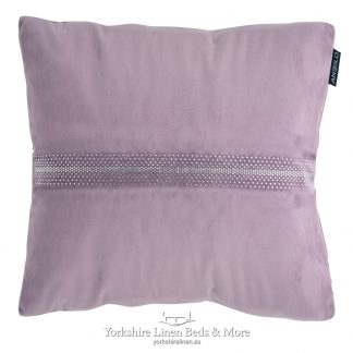 Velvet Diamante Cushion Heather - Yorkshire Linen Beds & More P01