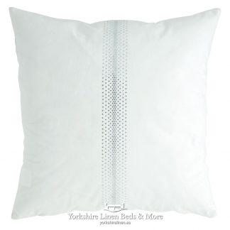 Velvet Diamante Cushion White - Yorkshire Linen Beds & More P01