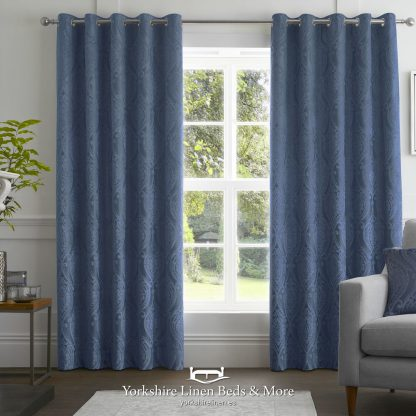 Charlotte Luxury Lined Curtains Damask Navy - Yorkshire Linen Beds & More P01