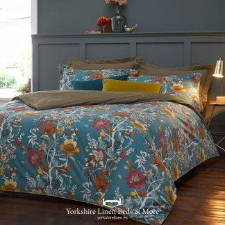 Floral Geo 100% Cotton Duvet Cover Set Teal - Yorkshire Linen Beds & More P01