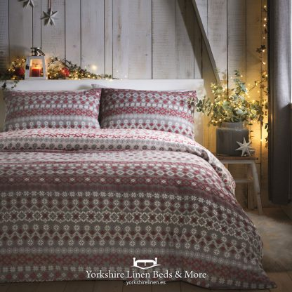Far and Away Brushed Cotton Duvet Set Red - Yorkshire Linen Beds & More