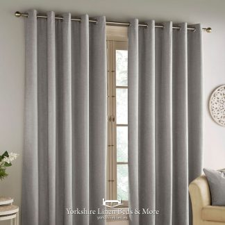 Hilton Chenille Blackout Ring Top Curtains Grey - Yorkshire Linen Beds & More