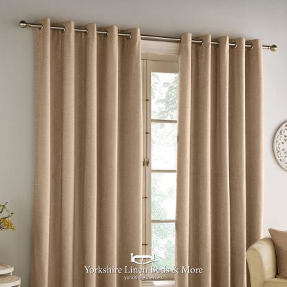 Hilton Chenille Blackout Ring Top Curtains Sand - Yorkshire Linen Beds & More