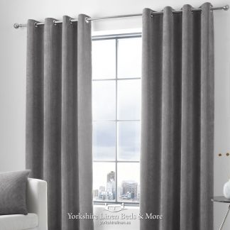 Kintyre Corded Ring Top Curtains, Charcoal - Yorkshire Linen Beds & More