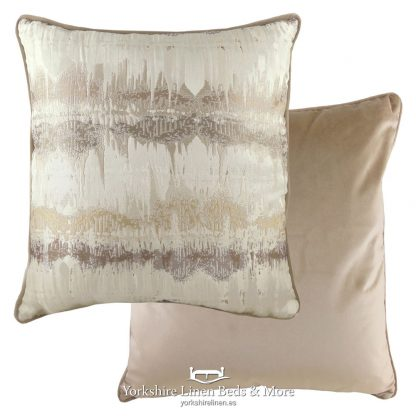 Aztec Luxury Velvet Cushions, Natural - Yorkshire Linen Beds & More