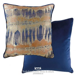 Aztec Luxury Velvet Cushions, Navy and Rust - Yorkshire Linen Beds & More
