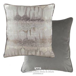 Aztec Luxury Velvet Cushions, Steel Grey - Yorkshire Linen Beds & More