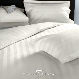 Hotel Stripe 540TC Cotton Ivory Pillowcases Fitted Sheet Flat Sheets - Yorkshire Linen Beds & More