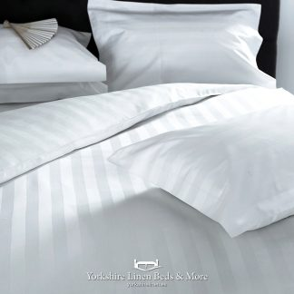 Hotel Stripe 540TC Cotton White Pillowcases Fitted Sheet Flat Sheets - Yorkshire Linen Beds & More