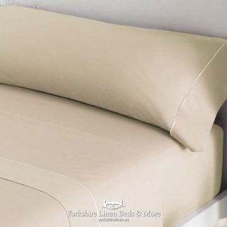 Luxury Sateen Bed Linen Beige 300TC Pillowcases Fitted Sheet Flat Sheets - Yorkshire Linen Beds & More