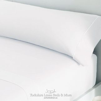 Luxury Sateen Bed Linen White 300TC Pillowcases Fitted Sheet Flat Sheets - Yorkshire Linen Beds & More