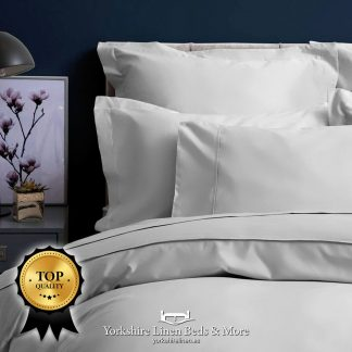 Pima 450TC Cotton Sateen Platinum Pillowcases Fitted Sheet Flat Sheets - Yorkshire Linen Beds & More