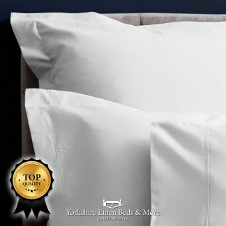 Pima 450TC Cotton Sateen White Pillowcases Fitted Sheet Flat Sheets - Yorkshire Linen Beds & More