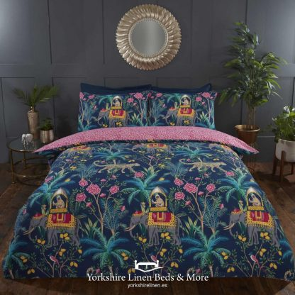 Raj Navy Duvet Cover Set - Yorkshire Linen Beds & More
