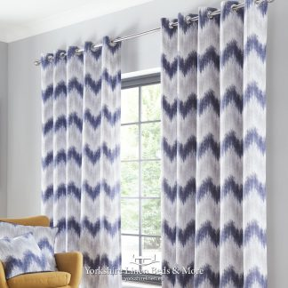 Arizona Ring Top Curtains Navy Grey - Yorkshire Linen Beds & More