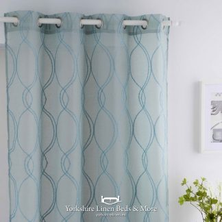 Crystal Extra Wide Ring Top Voile Panel, Turquoise - Yorkshire Linen Beds & More