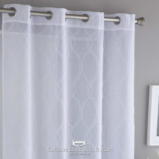 Crystal Extra Wide Ring Top Voile Panel, White - Yorkshire Linen Beds & More