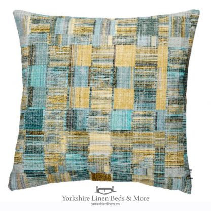 Linen Squares Cushion Yellow and Blue - Yorkshire Linen Beds & More